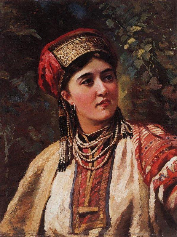 Woman in a national costume - Konstantin Makovsky