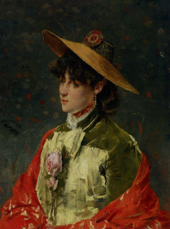 Woman In a Straw Hat - Alfred Stevens