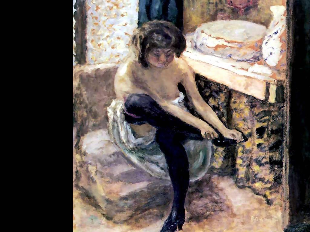 Woman in Black Stockings - Pierre Bonnard