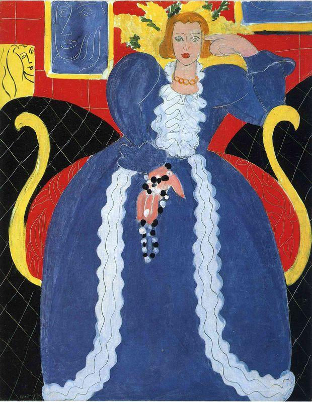 Woman in Blue, or The Large Blue Robe and Mimosas  - Henri Matisse