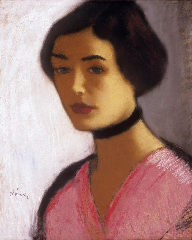 Woman in ink Dress and Black Collar  - Jozsef Rippl-Ronai