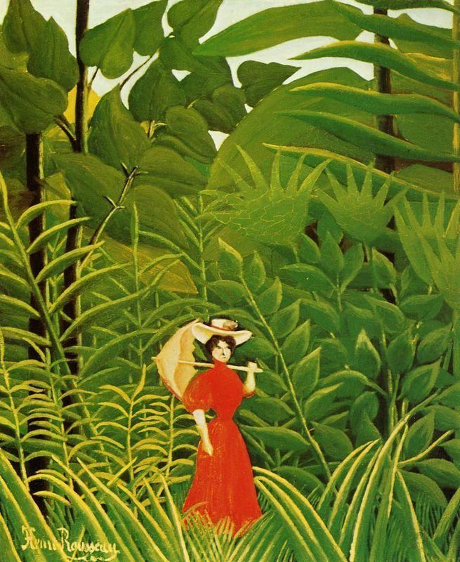 Woman in Red in the Forest  - Henri Rousseau