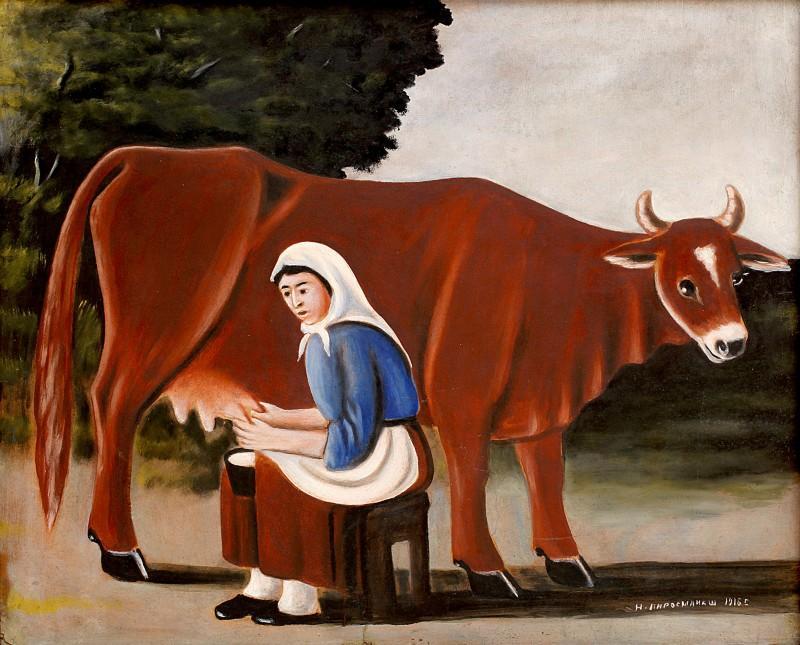Woman milks a cow - Niko Pirosmani