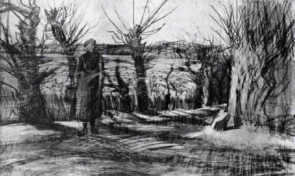 Woman on a Road with Pollard Willows - Vincent van Gogh