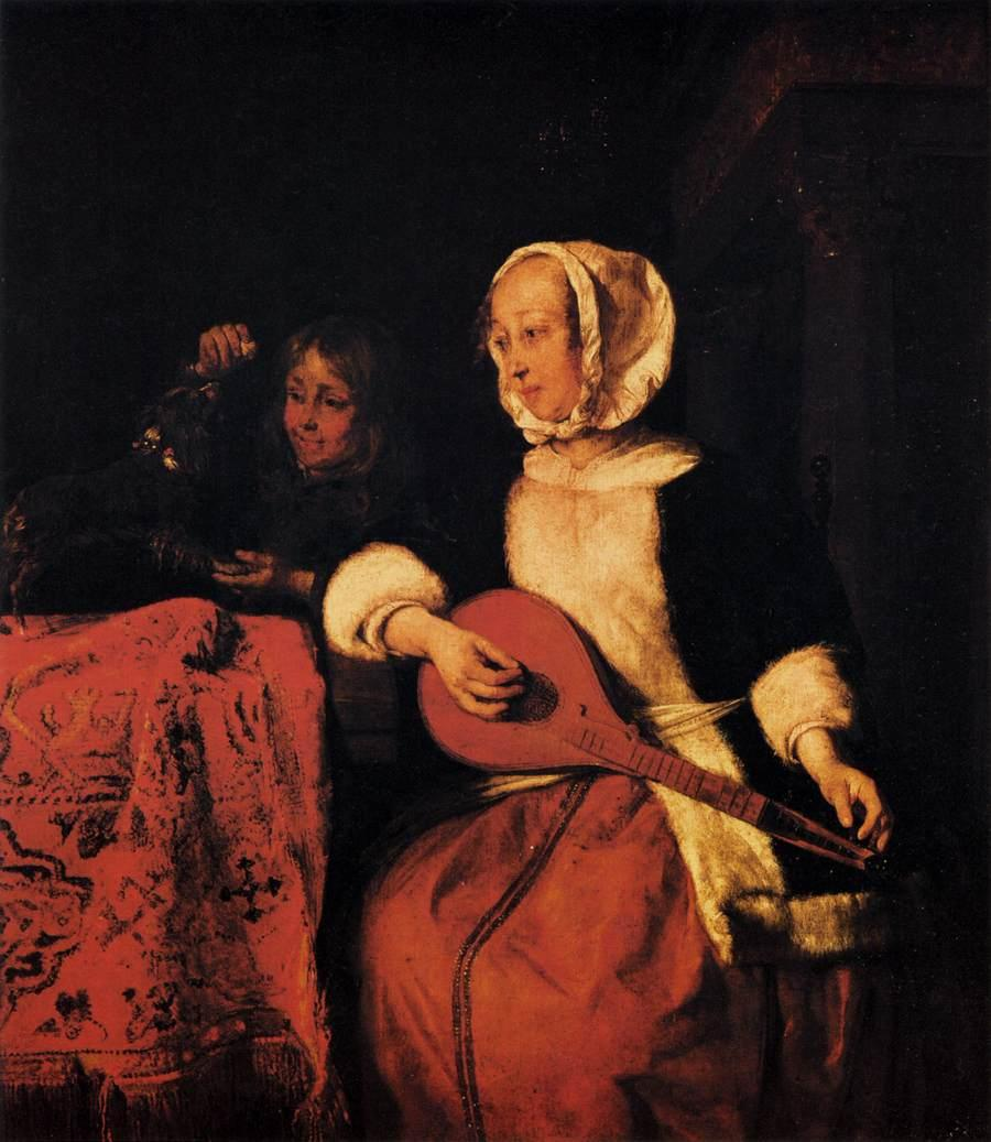 Woman Playing a Mandolin - Gabriel Metsu