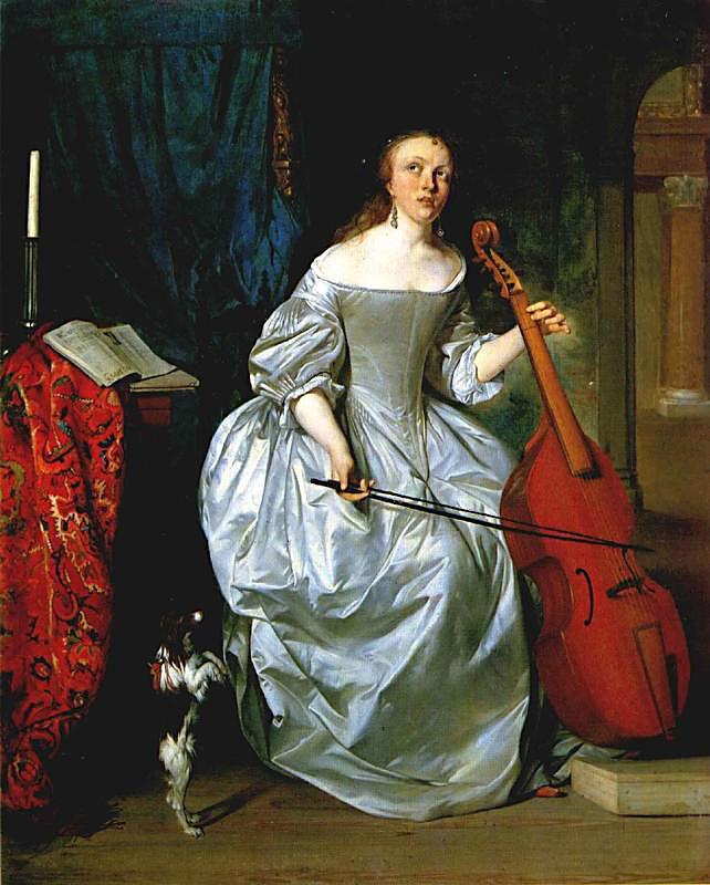 Woman Playing a Viola de Gamba - Gabriel Metsu
