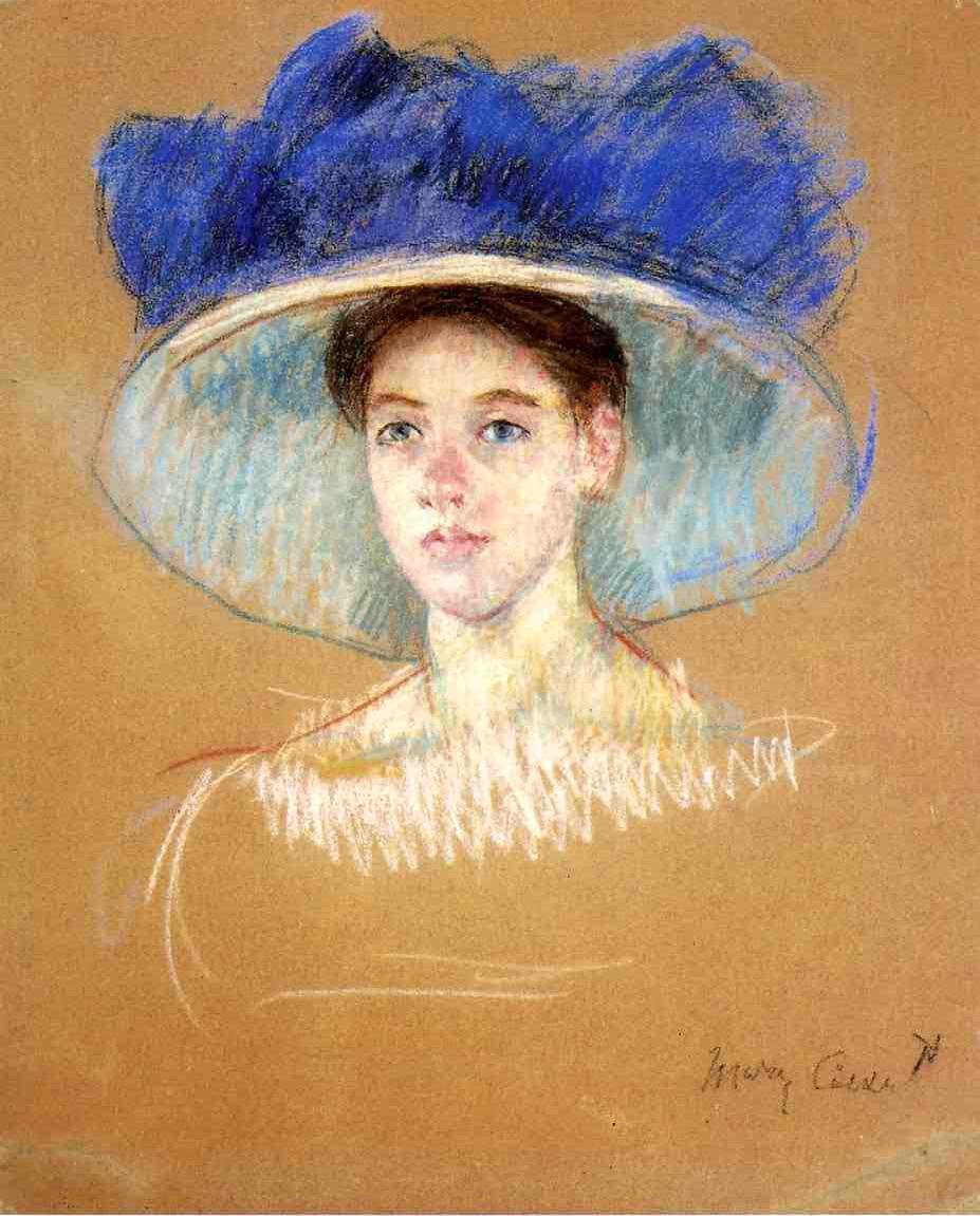 Woman`s Head with Large Hat - Mary Cassatt