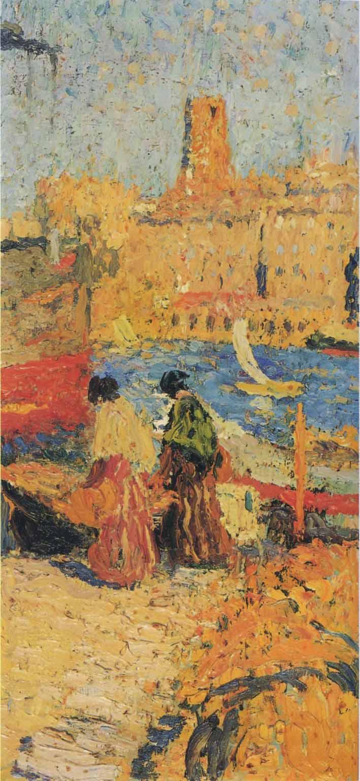 Woman Sitting in a Port - Henri Martin