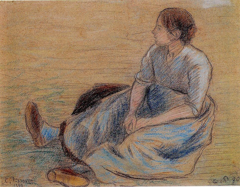 Woman Sitting on the Floor - Camille Pissarro