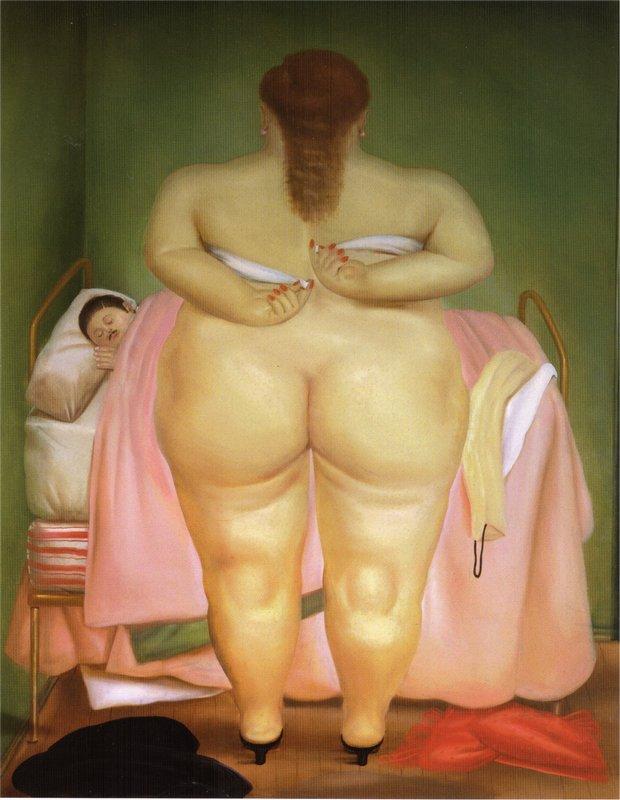 Woman Stapling Her Bra - Fernando Botero
