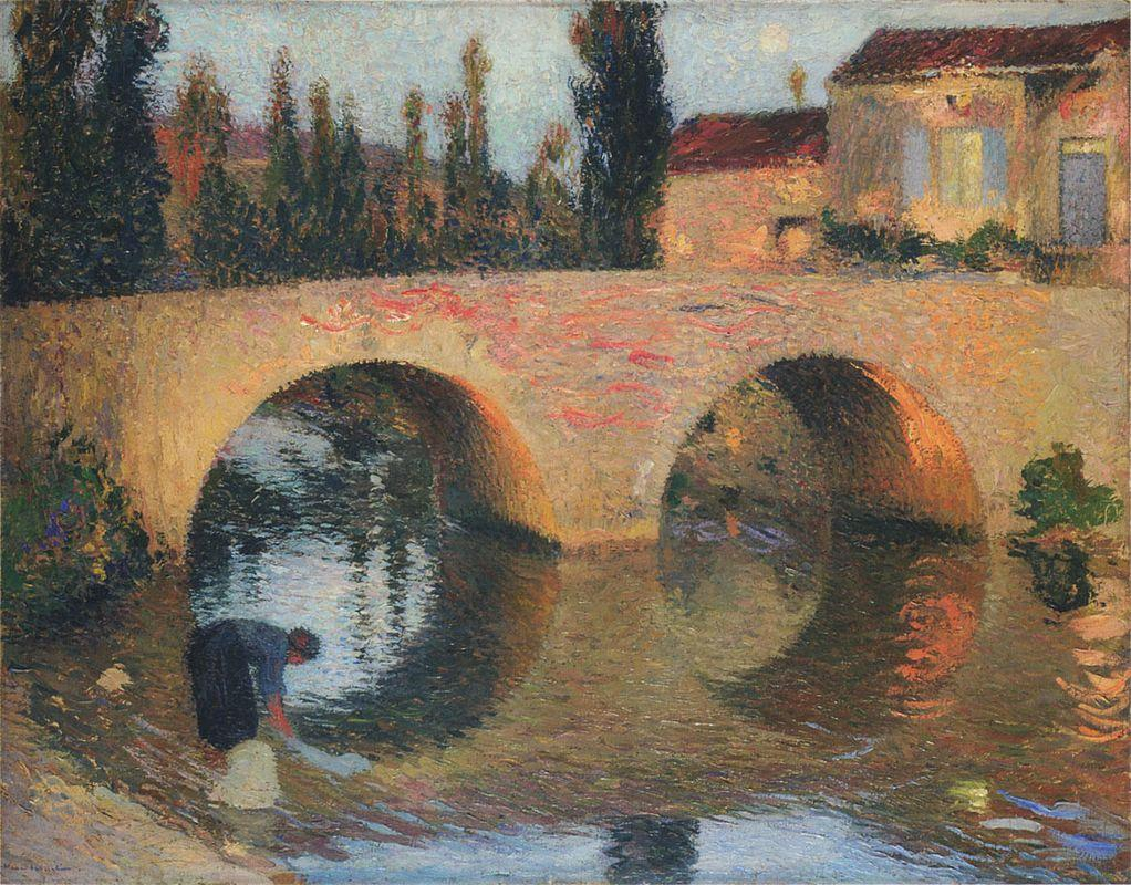 Woman Washing Clothes in River - Henri Martin