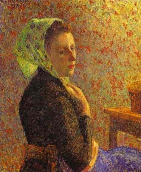 Woman wearing a green headscarf - Camille Pissarro