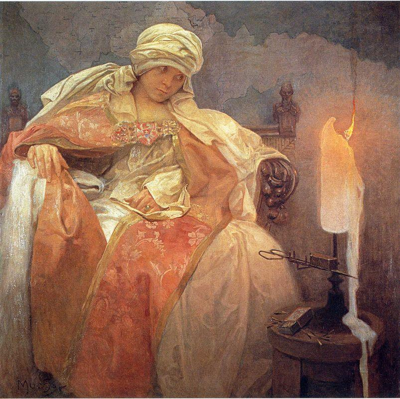 Woman with a Burning Candle - Alphonse Mucha