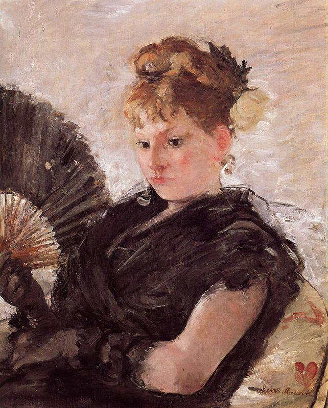 Woman with a Fan (aka Head of a Girl) - Berthe Morisot