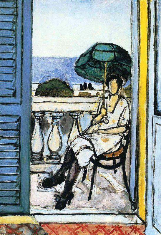 Woman with a Green Parasol on a Balcony  - Henri Matisse