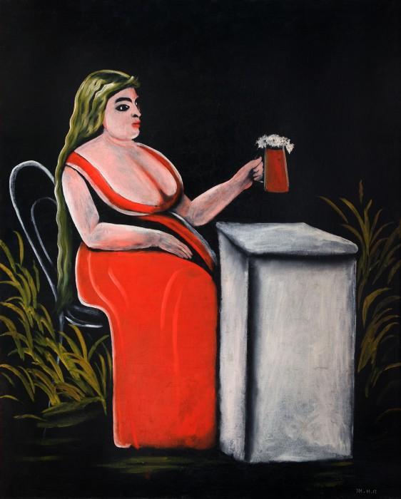 Woman with a Mug of Beer - Niko Pirosmani