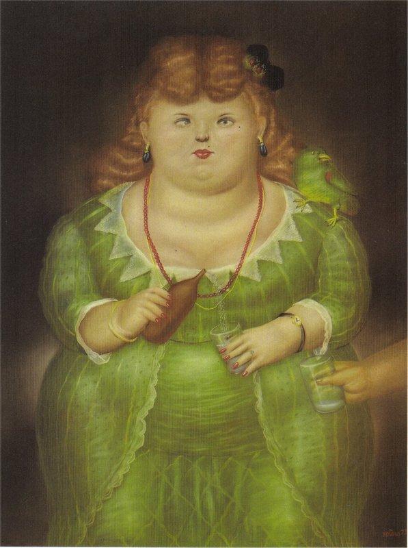 Woman with a Parrot - Fernando Botero