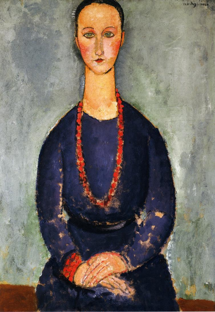 Woman with a Red Necklace - Amedeo Modigliani