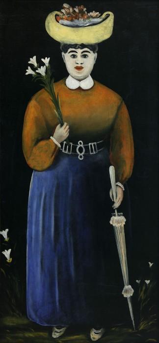 Woman with Flowers and Parasol - Niko Pirosmani