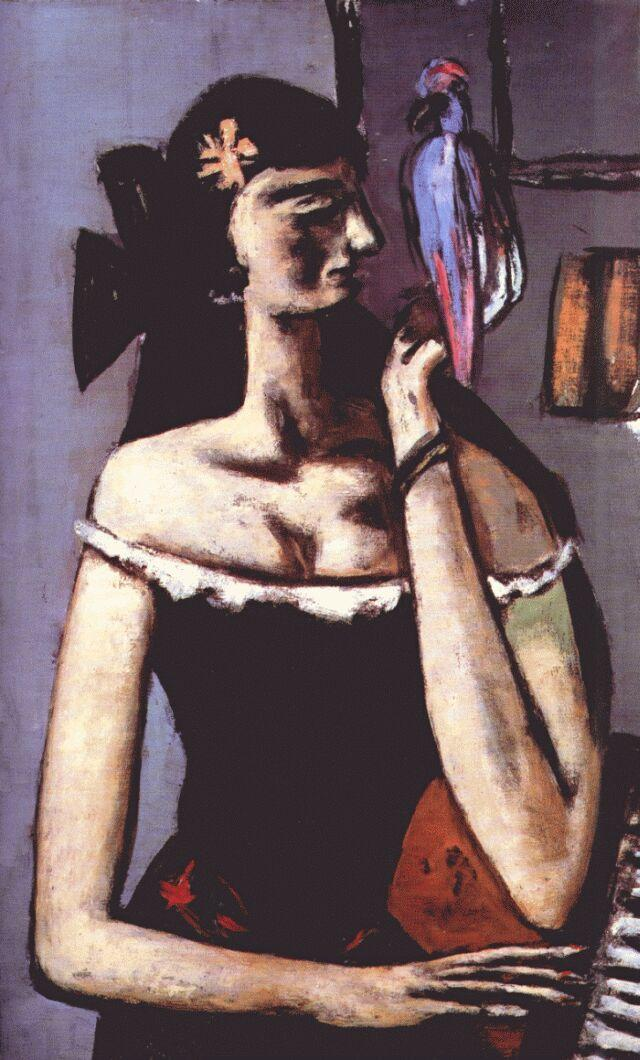 Woman with parrot - Max Beckmann