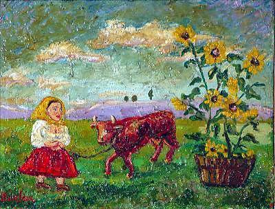 Woman with red cow - David Burliuk