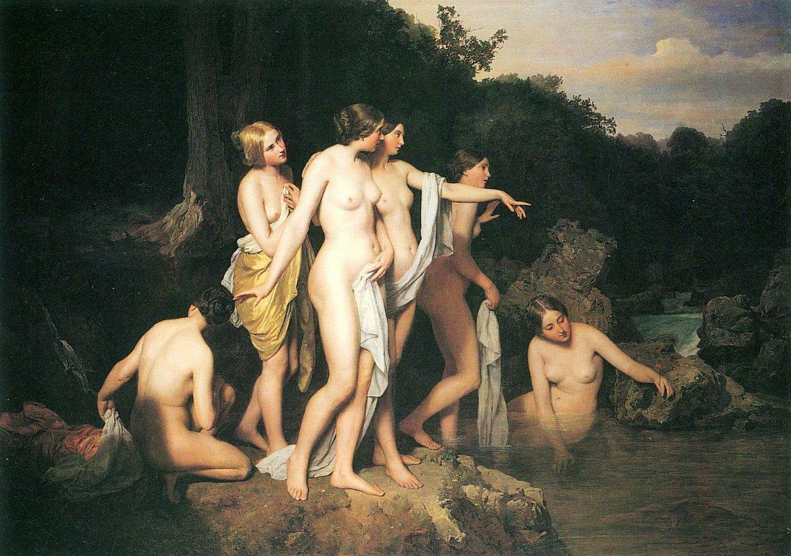 Women bathing at the brook - Ferdinand Georg Waldmuller