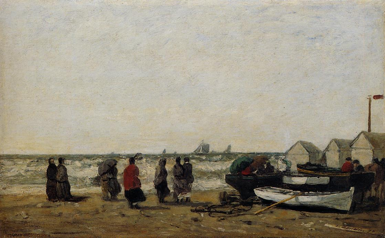 Women on the Beach, Rough Seas - Eugene Boudin