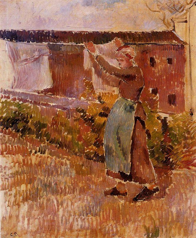 Women Tending the Laundry (study) - Camille Pissarro