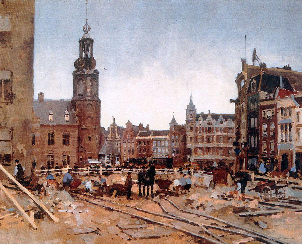 Work In Progress On Muntplein In Amsterdam - Cornelis Vreedenburgh