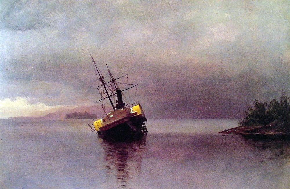Wreck of the 'Ancon' in Loring Bay, Alaska  - Albert Bierstadt