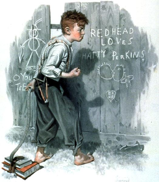 Writing on the fence - Norman Rockwell