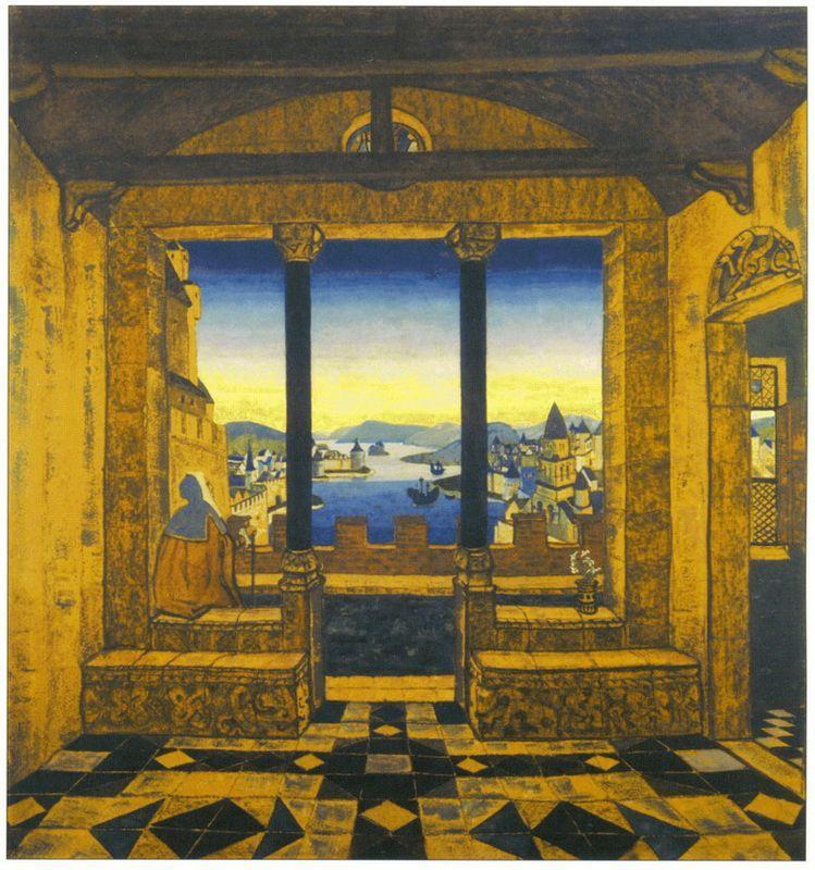 Yard in front of castle - Nicholas Roerich