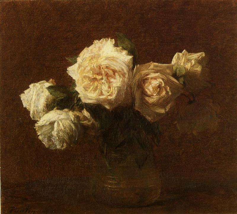 Yellow Pink Roses in a Glass Vase - Henri Fantin-Latour