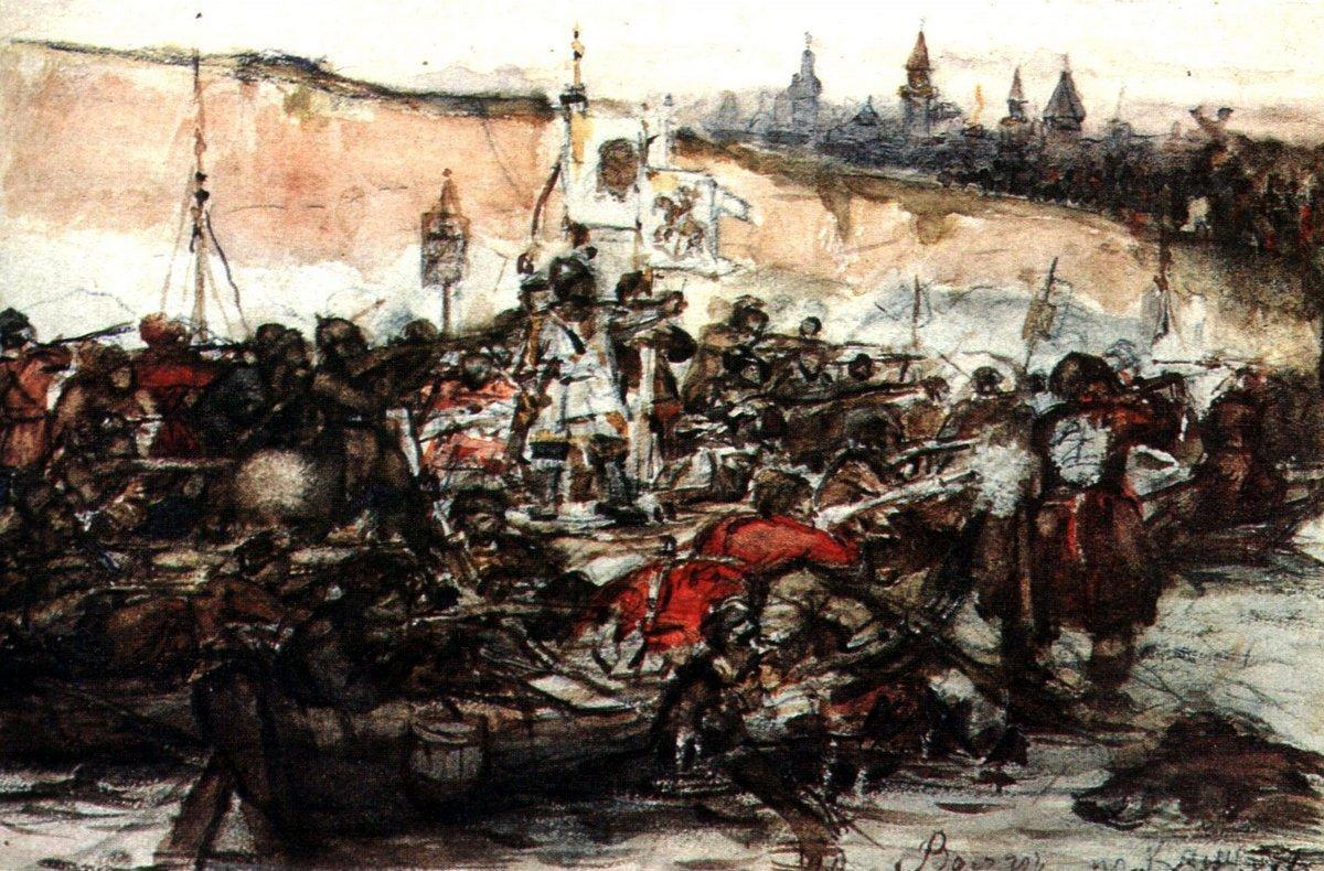 Yermak's conquest of Siberia (study) - Vasily Surikov