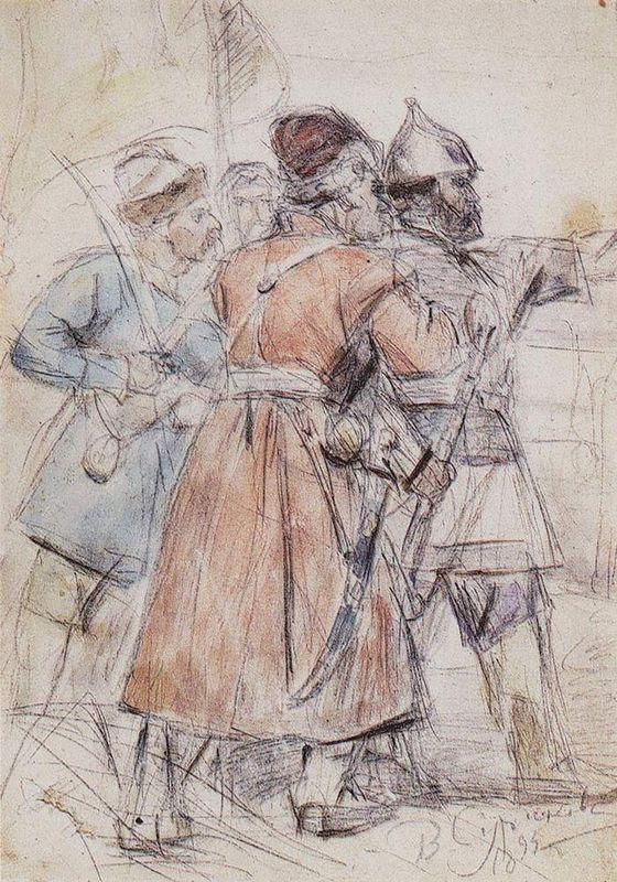 "Yermak with cossacks  (Study to ""The Conquest of Siberia by Yermak"") - Vasily Surikov"