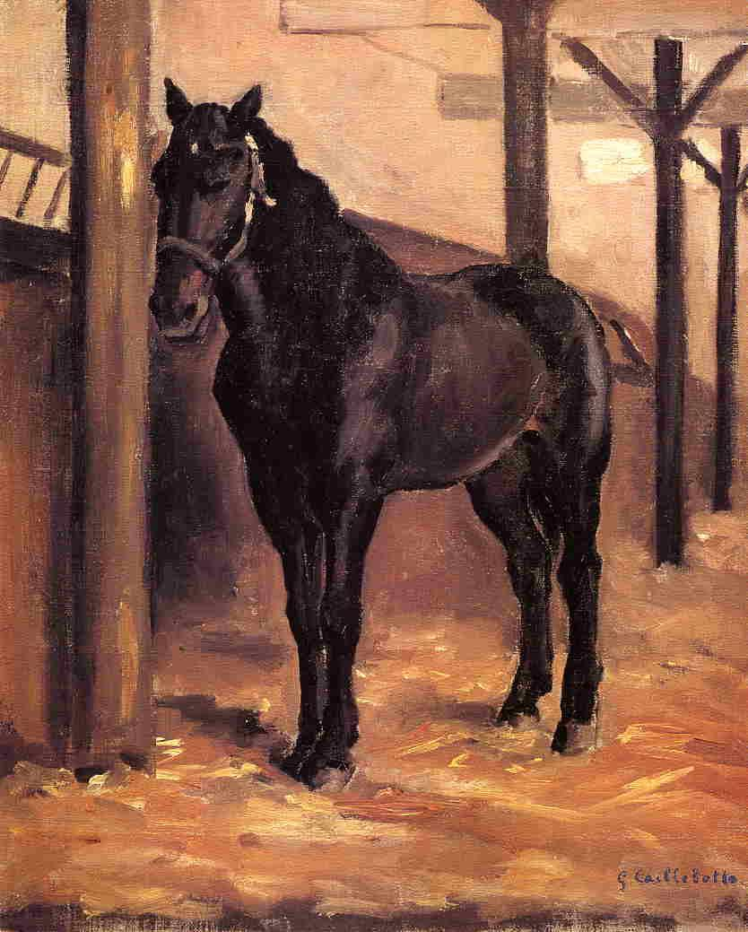 Yerres, Dark Bay Horse in the Stable - Gustave Caillebotte