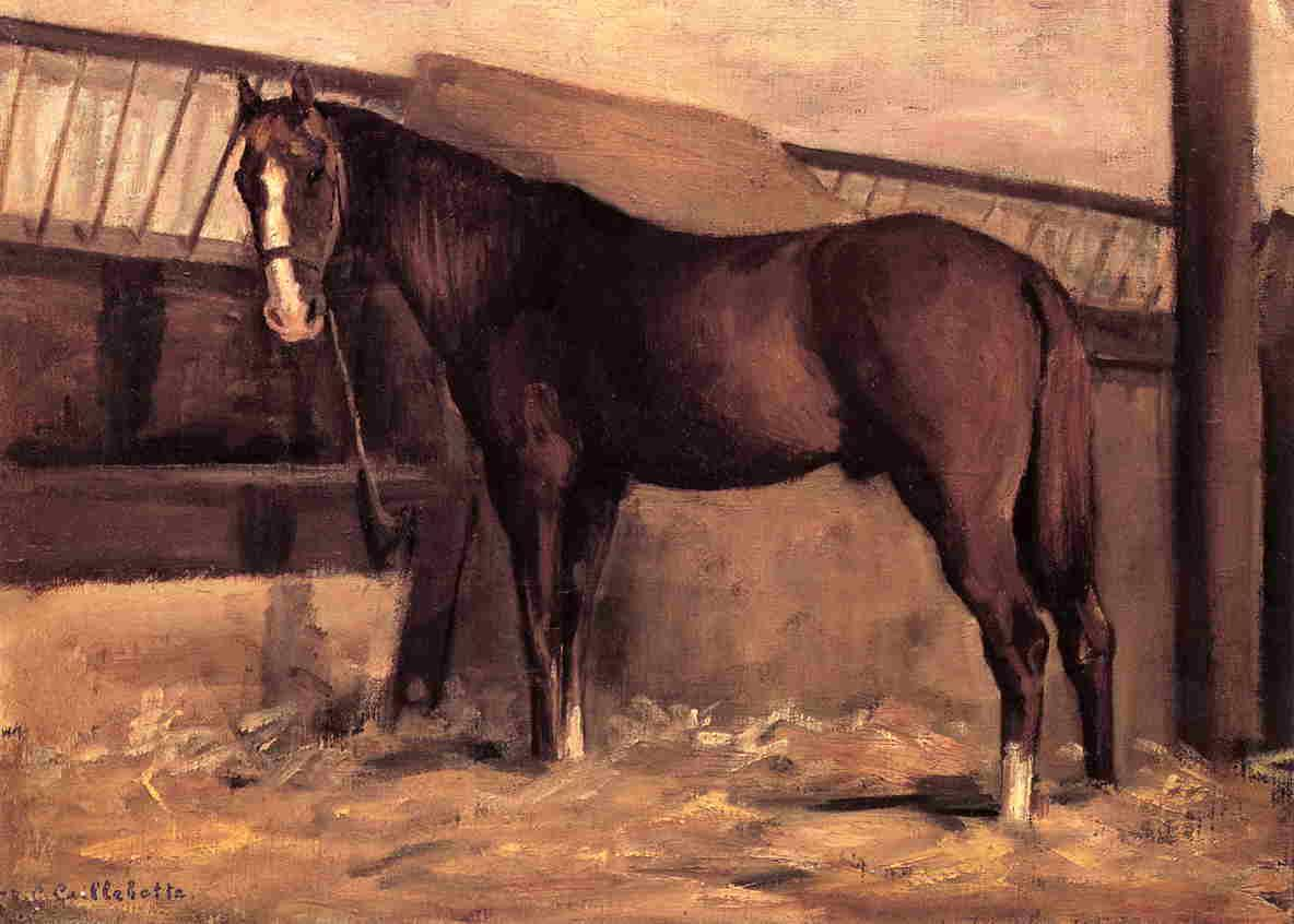 Yerres, Reddish Bay Horse in the Stable - Gustave Caillebotte