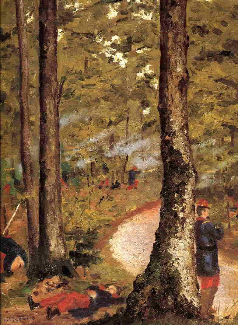 Yerres, Soldiers in the Woods - Gustave Caillebotte