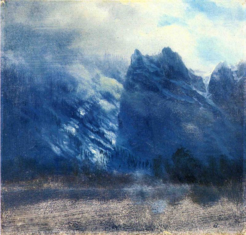Yosemite Valley Twin Peaks - Albert Bierstadt
