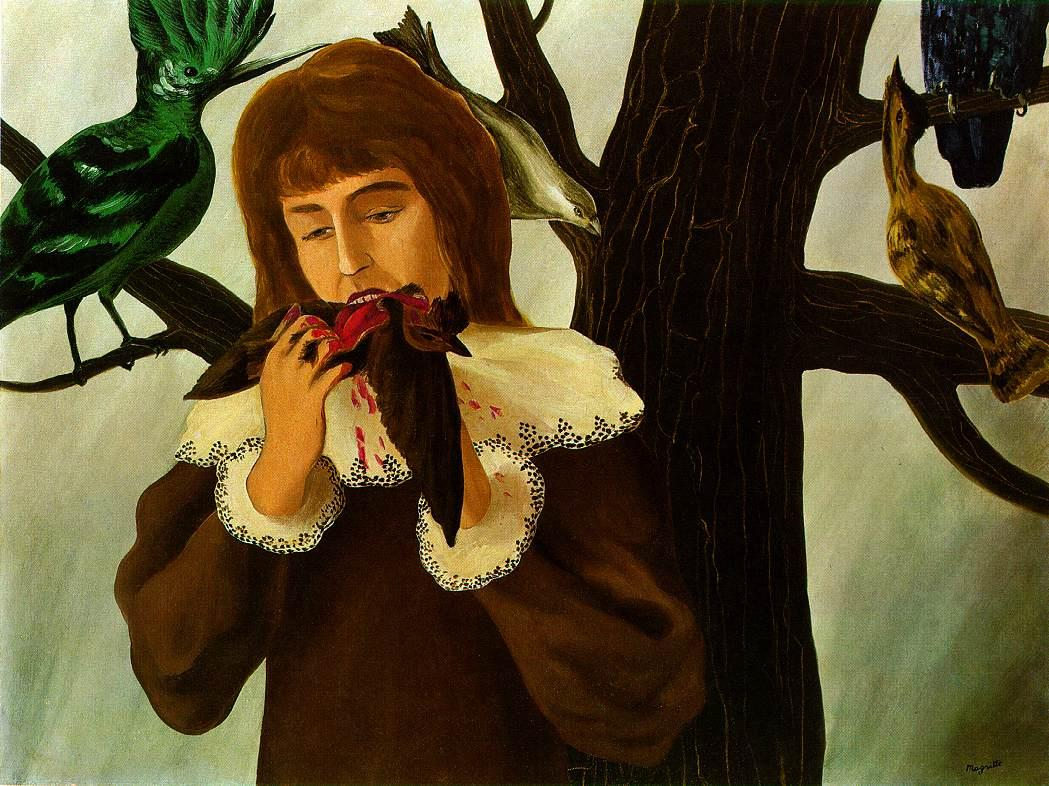 Young girl eating a bird (The pleasure) - Rene Magritte