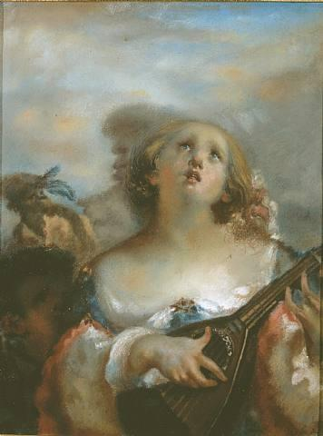 Young girl playing mandolin - Jean-Francois Millet