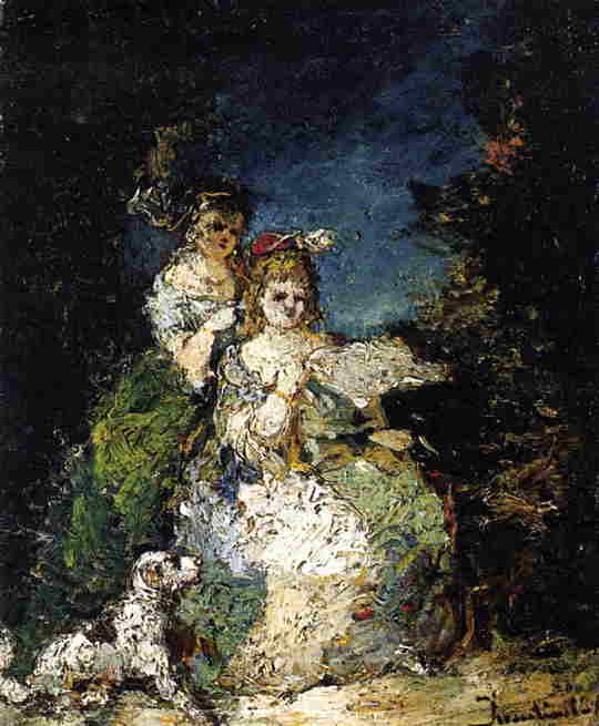 Young Girls and Dog in a Park - Adolphe Joseph Thomas Monticelli