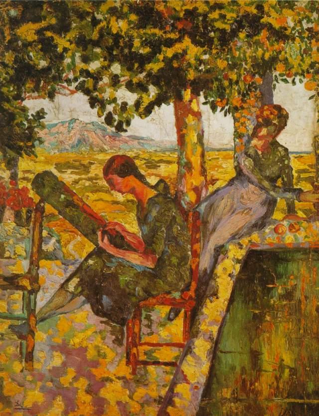Young Girls in a Garden - Salvador Dali