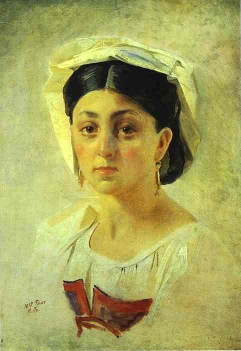 Young Italian Woman in a Folk Costume, Study - Nikolai Ge
