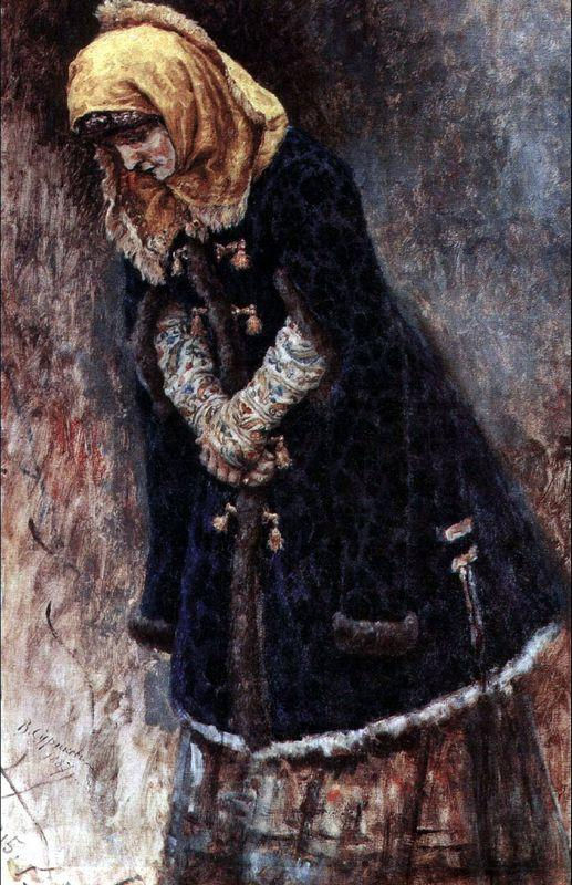 Young lady with blue fur coat - Vasily Surikov
