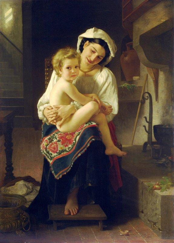 Young Mother Gazing At Her Child - William-Adolphe Bouguereau