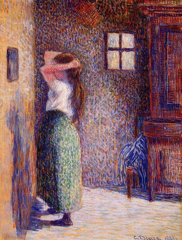 Young Peasant at Her Toilette - Camille Pissarro