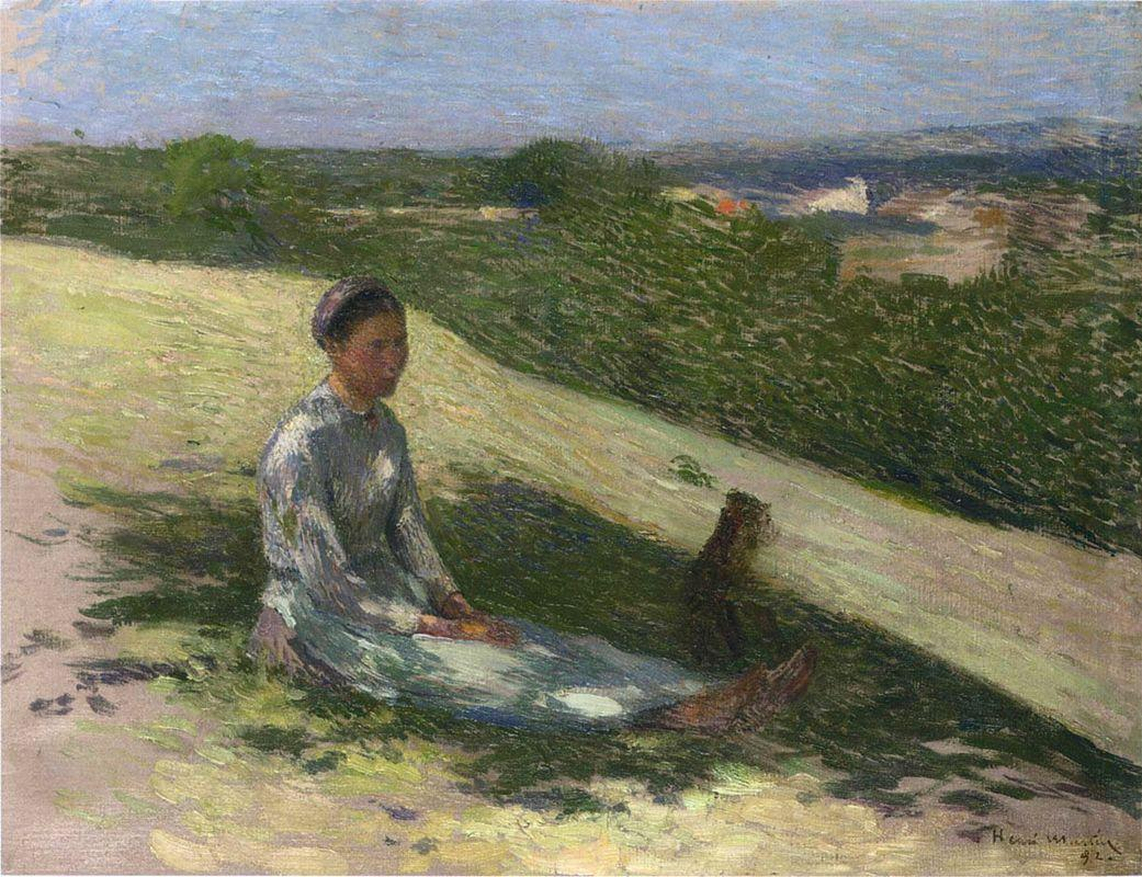 Young Peasant Girl and Her Dog - Henri Martin