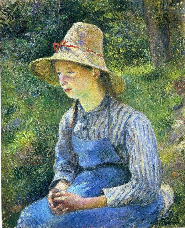 Young Peasant Girl Wearing a Hat - Camille Pissarro