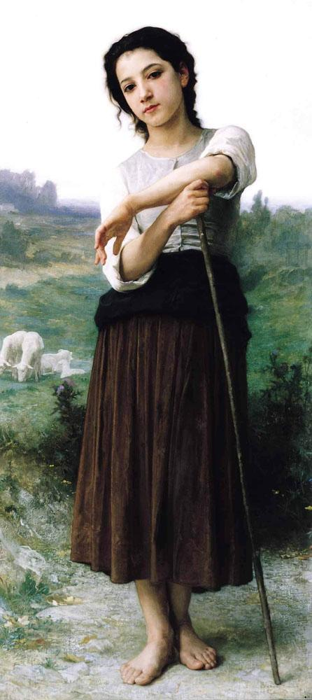 Young Shepherdess Standing - William-Adolphe Bouguereau